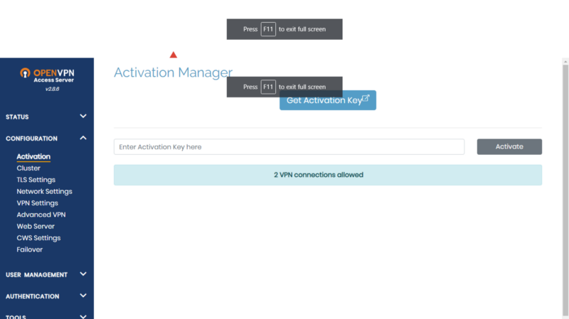 Activation Manager Page for  Access Server GUI.