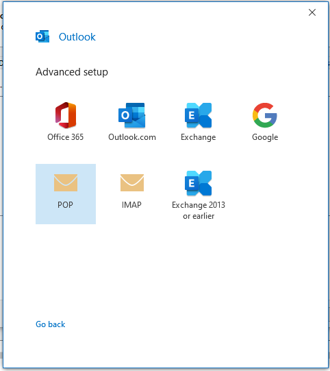 select pop  from the outlook option window.