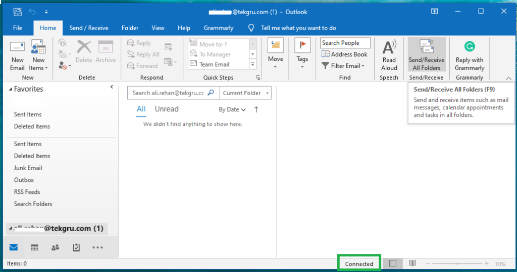 verify outlook connection email settings