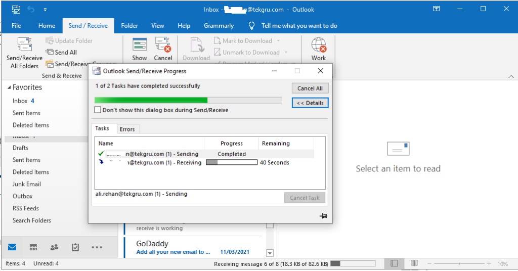send and reciev pop3 godaddy outlook email.
