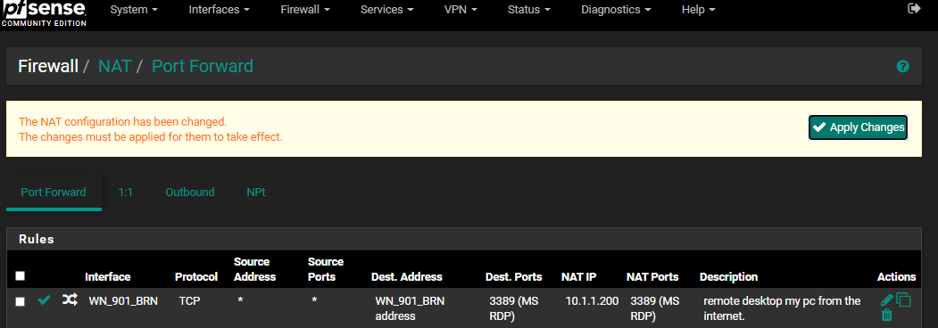 Pfsense: apply changes for rule confirmation.