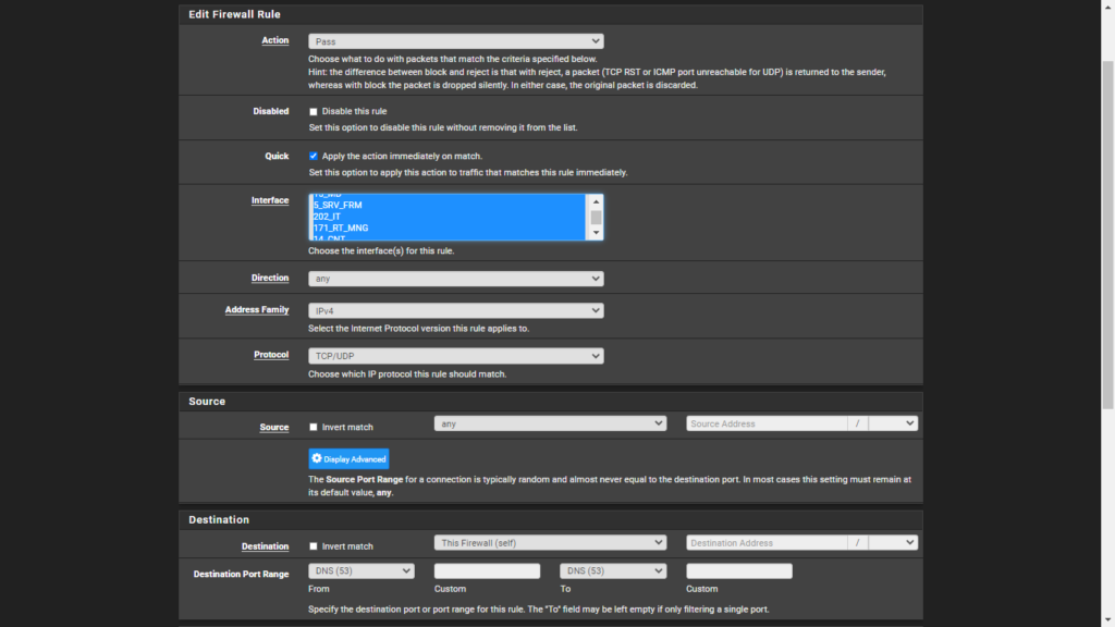 Pfsense Ads Block | Add pass rule to allow  local networks traffic to pfsense local dns server