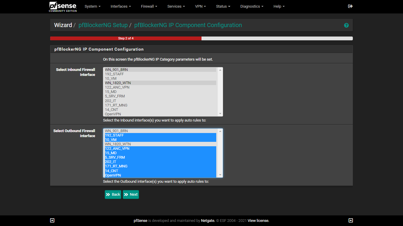 select inbound and outbound interfaces to be used by IP Portion of pfblockerng to block ads