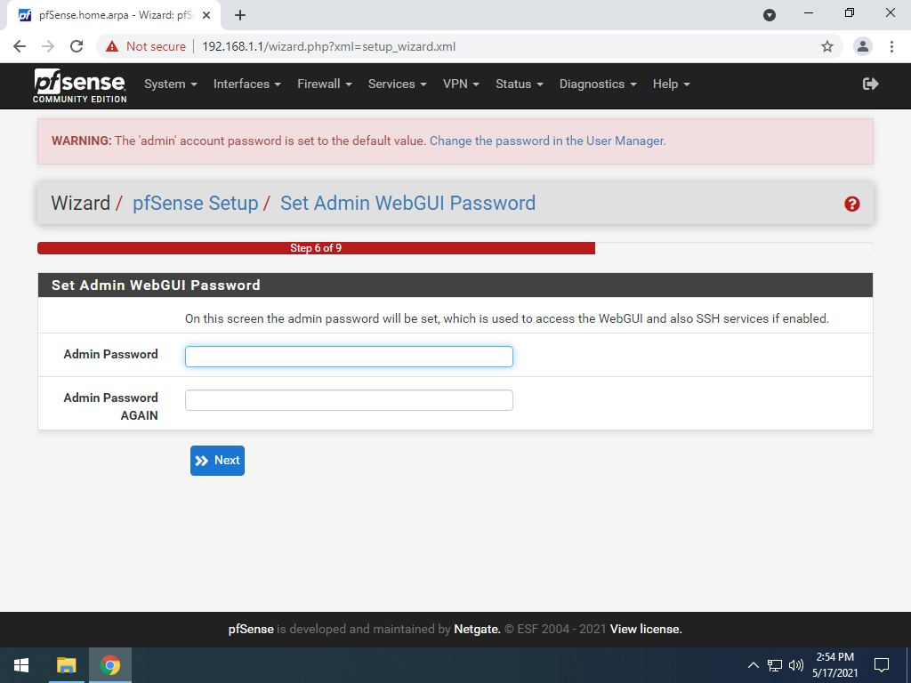 Set strong password page for pfsense.