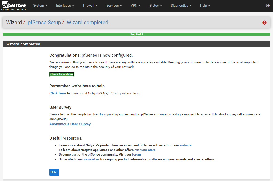 Wizard Completion Page for Pfsense.