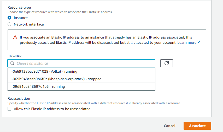 associate elastic ip to instance from the drop down list.