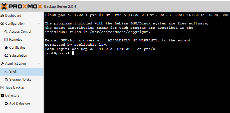 access the shell interface in proxmox backup server.png