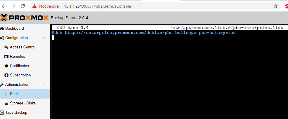 commenting enterprise repository, proxmox backup server
