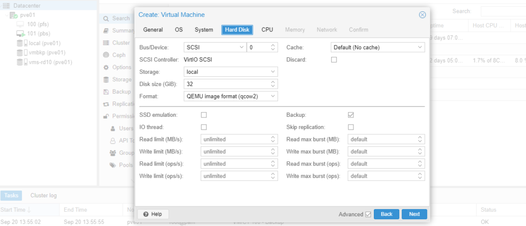 create vm proxmox backup section, Hard Disk section