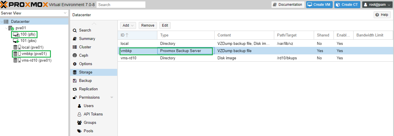 remote proxmox backup server added as a storage to proxmox virtual environment.