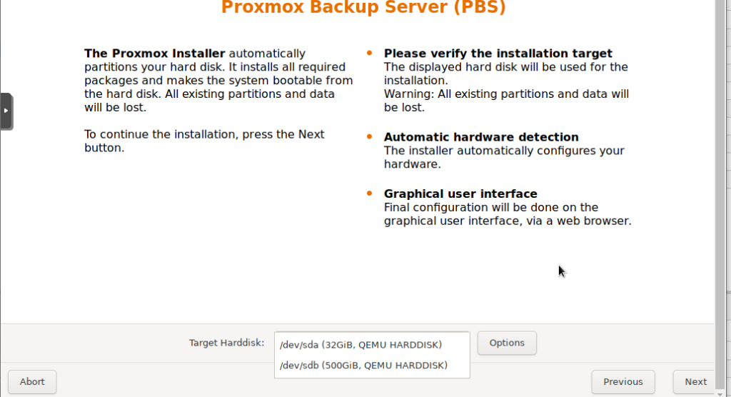 select the os hard disk for proxmox backup server installation.png